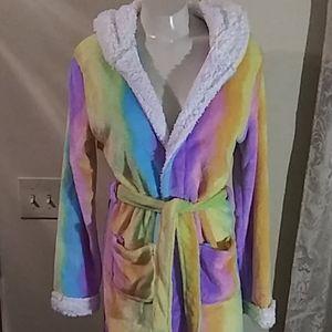 Rainbow Unicorn Hooded Plush Robe